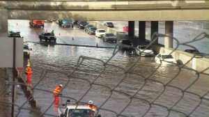 Rain flooded the 5 Freeway in Sun Valley on Jan. 6, 2016.