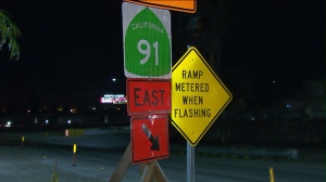 A 55-hour closure of a portion of the 91 Freeway was planned to begin on Feb. 19. (Credit: KTLA)