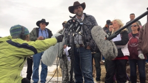 Ammon Bundy addressed the media today on day 12 of the occupation of Mahleur National Wildlife Refuge by anti-government protesters on Jan. 11, 2016. (Credit: Sara Weisfeldt/CNN)