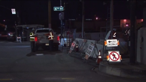 The Sixth Street Bridge in downtown Los Angeles was closed on Jan. 27, 2016. (Credit: KTLA)