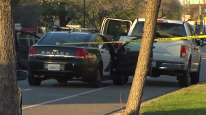 Authorities investigate and officer involved shooting in Burbank on Jan. 28, 2016. (Credit: KTLA)