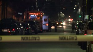 A man and woman were fatally shot in a San Fernando Valley apartment building on Jan. 17, 2016, police said. (Credit: KTLA)