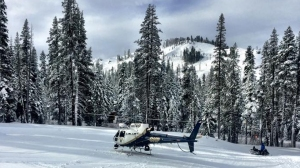 Placer County Sheriff's Office posted this photo on Jan. 18, 2016, of a helicopter involved in the search for missing ski instructor Carson May.