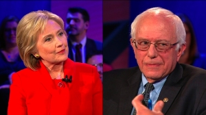 Hillary Clinton and Bernie Sanders are seen in images provided by CNN.