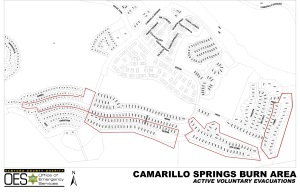 A map shows Camarillo Springs homes that were under voluntary evacuation status on Jan. 5, 2015. (Credit: Ventura County)