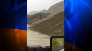 Mud was seen flowing into several lanes of traffic in north Ventura County in a video posted by the Ventura County Sheriff's Department on Jan. 6, 2016.