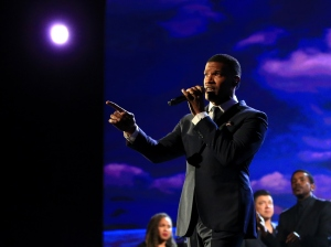 """Actor/singer Jamie Foxx performs onstage at A+E Networks """"Shining A Light"""" concert at The Shrine Auditorium on Nov. 18, 2015 in Los Angeles. (Credit: Christopher Polk/Getty Images for A+E Networks)"""