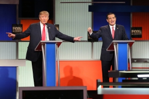 Republican presidential candidates (L-R) Donald Trump and Sen. Ted Cruz (R-TX) participate in the Fox Business Network Republican presidential debate at the North Charleston Coliseum and Performing Arts Center on Jan. 14, 2016, in North Charleston, South Carolina. (Credit: Scott Olson/Getty Images)