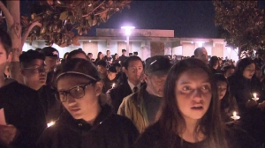 Hundreds gathered in Arcadia at a vigil for Anthony and William Lin on Jan. 25, 2016. (Credit: KTLA)