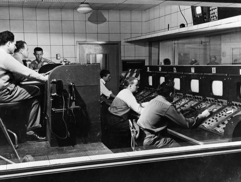 KTLA's control room is shown in 1949.