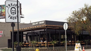 """""""Here, we wanted to include everybody, so we have a great vegan menu and gluten-free menu,"""" Danny Trejo said of his new Trejo's Tacos. (Credit: Jenn Harris / Los Angeles Times)"""