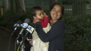 Maria Castro spoke to reporters after being reunited with her 1-year-old son, Caleb Castro, on Jan. 7, 2016. (Credit: KTLA)