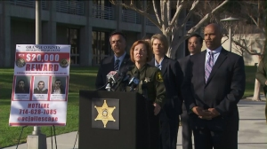 Sheriff Sandra Hutchens addresses the public regarding the recent inmate escape at a news conference on Jan. 24, 2016. (Credit: KTLA)