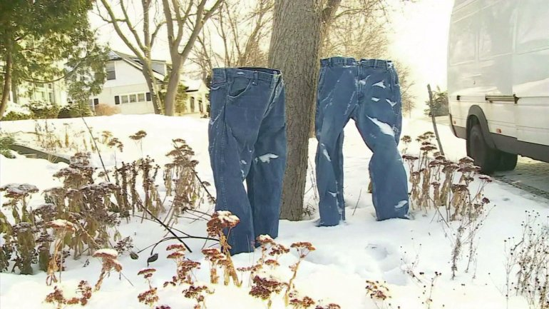 Two pairs of jeans just hanging out in Minneapolis in January 2016. (Credit: WCCO)