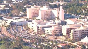 Three shots were said to be fired in the basement of the Naval Medical Center San Diego on Jan. 26, 2016. (Credit: Total Traffic & Weather Network)