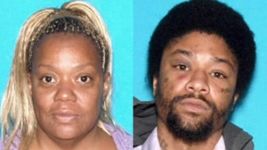 Barbara Crumity, 52, left, and Darrell Jones, 23, are seen in photos provided by the San Bernardino Police Department.