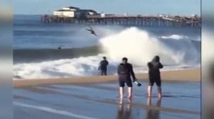 Big waves tossed Seal Beach surfers on Thursday, Jan. 7, 2016. (Credit: KTLA)