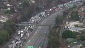 Traffic was jammed as a result of the flooding and subsequent lane closures.