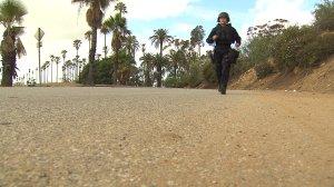 LAPD Officer Kristina Tudor trains in Elysian Park on Jan. 20, 2016. (Credit: KTLA)