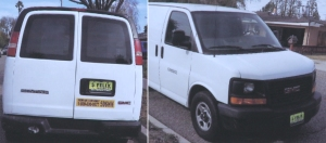 Photos of a van believed to have been used by Santa Ana jail escapees were displayed at a news conference on Jan. 28, 2016. (Credit: KTLA)