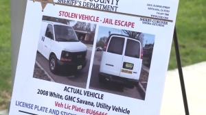 Photos of van believed used by Santa Ana jail escapees were shown at a Jan. 28, 2016, news conference. (Credit: KTLA)