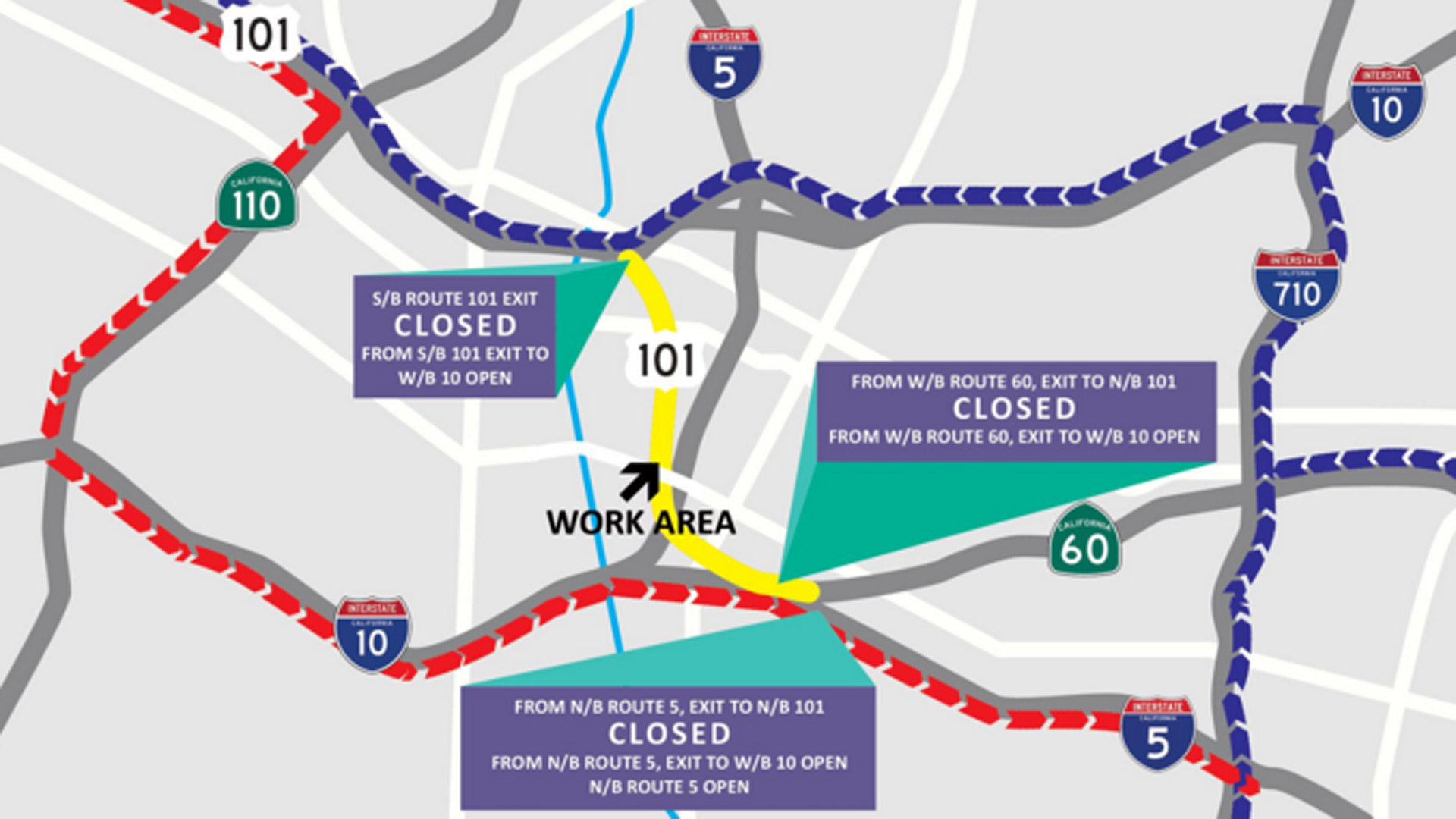 A map on the Sixth Street Viaduct project's website shows the affected stretch of 101 Freeway.
