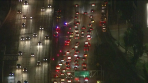 Traffic was backed up for several miles following a multi-vehicle crash on the 110 Freeway on Feb. 24, 2016. (Credit: KTLA)