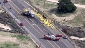 Two people were dead after a crash near Val Verde on Feb. 23, 2016. Lemons were spilled across lanes. (Credit: KTLA)