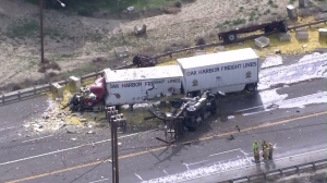 Another view shows the wreckage after a fatal crash near Val Verdes on Feb. 23, 2016. (Credit: KTLA)