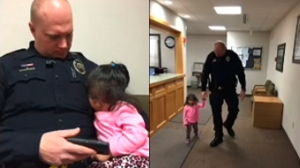 Images taken from surveillance video provided by the Orem Police Department show Officer Norris babysitting a little girl.
