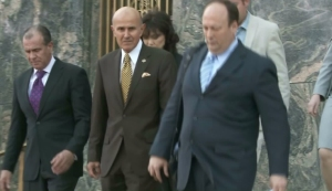 Former L.A. County Sheriff Lee Baca is seen leaving federal court on Feb. 10, 2016, after pleading guilty to lying to investigators. (Credit: KTLA)