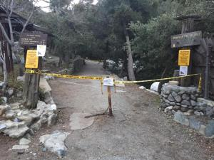 The closed Icehouse Canyon trailhead is shown in a photo posted by the Mount Baldy Fire Department on Feb. 8, 2016.