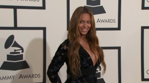 Beyonce on the red carpet at the 57th Annual GRAMMY Awards in Los Angeles on Sunday, February 8, 2015. (Credit: Pool Photo)