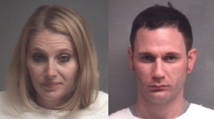 Brittany Nicole Harper, 30, left, and Blake Edward Fitzgerald, 30, are seen in booking photos. (Credit: Joplin Police Department)