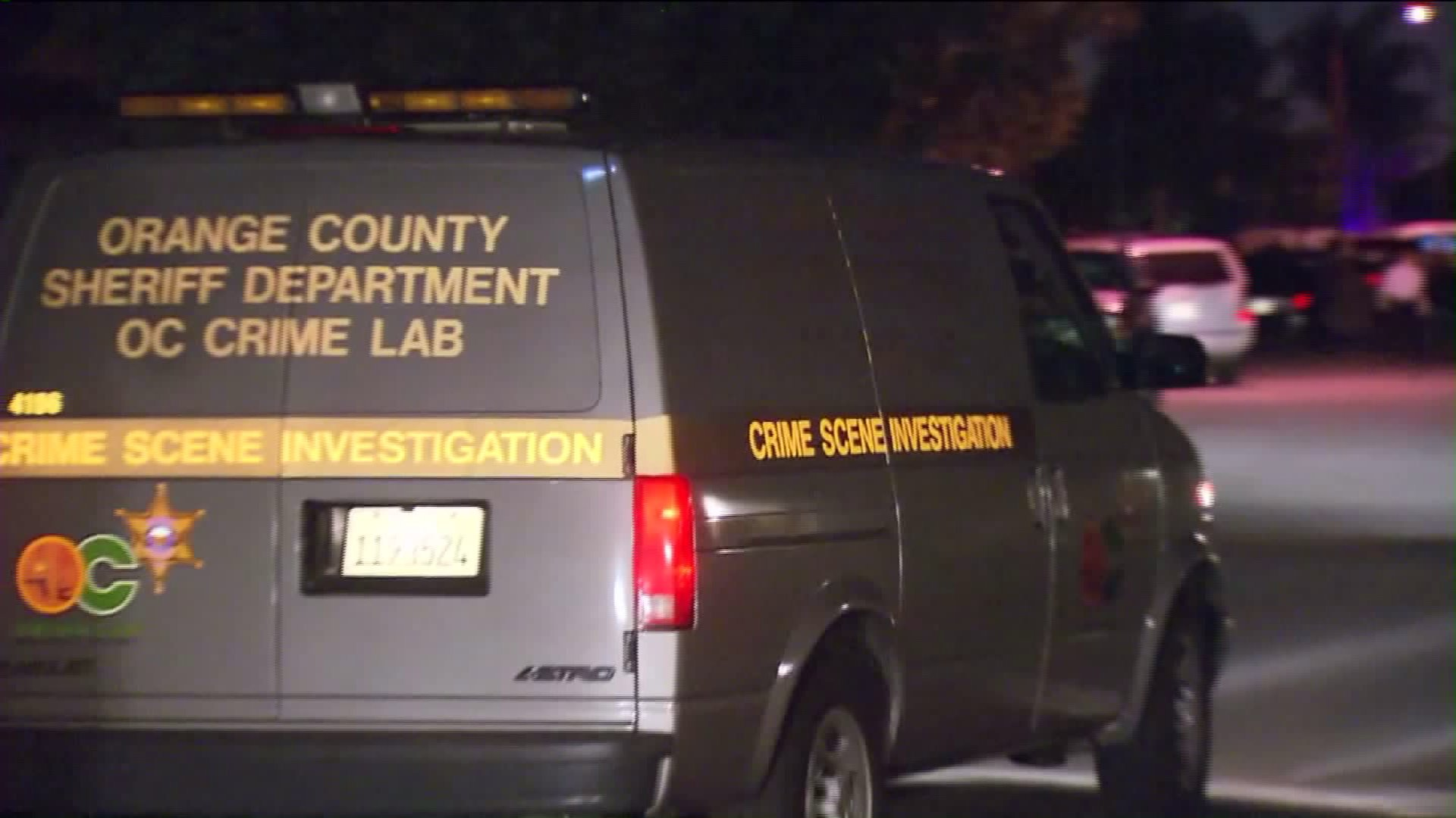An Orange County Sheriff's Department vehicle is seen in Anaheim after police fatally shot a man on Feb. 20, 2016. (Credit: KTLA)