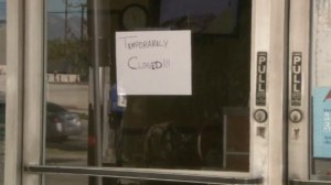 A sign is posted at a West Covina Subway after an infant was apparently born and abandoned there on Feb. 15, 2016. (Credit: KTLA)