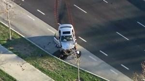 A damaged Mercedes-Benz is seen in Santa Ana following a fatal crash on Feb. 8, 2016. (Credit: CNN)