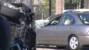 One vehicle rolled over after a crash involving five vehicles in East Hollywood on Feb. 6, 2016. (Credit: KTLA)