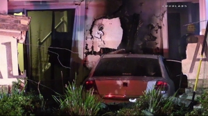 A car crashed into a home in Eastvale on Feb. 22, 2016. (Credit: Loudlabs)