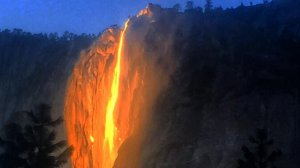 The illusion of fire falling over Horsetail Falls in Yosemite National Park, seen in this file photo, is a yearly phenomenon. (Credit: archanjm)