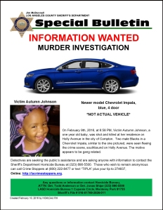 The L.A. County Sheriff's Department released this flier on Feb. 10, 2016, in its investigation into the killing of Autumn Johnson the previous night.