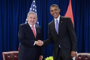 U.S. President Barack Obama and President Raul Castro of Cuba shake hands during a bilateral meeting at the United Nations Headquarters on Sept. 29, 2015 in New York City. (Credit: Anthony Behar-Pool/Getty Images)