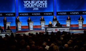 Republican presidential candidates participate in the Republican Presidential Candidates Debate Feb. 6, 2016, at St. Anselm's College Institute of Politics in Manchester, New Hampshire. From left are: John Kasich, Jeb Bush, Marco Rubio, Donald Trump, Ted Cruz, Ben Carson, and Chris Christie. (Credit: JEWEL SAMAD/AFP/Getty Images)