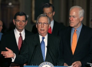 Senate Majority Leader Mitch McConnell (R-KY)(center), speaks to the media about the recent vacancy at the U.S. Supreme Court, on Capitol Hill Feb. 23, 2016. (Credit: Mark Wilson/Getty Images)