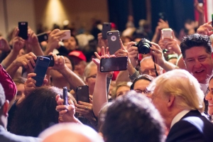 Republican presidential candidate Donald Trump greets supporters following a rally at the Nugget on Feb. 23, 2016, in Sparks, Nevada. (Credit: David Calvert/Getty Images)