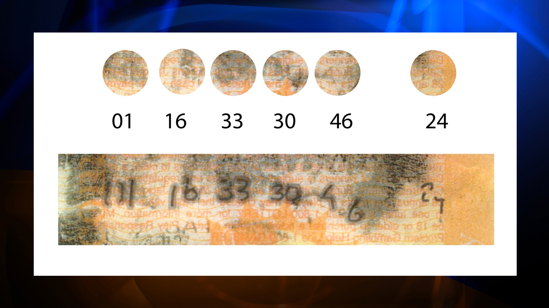 A close up of Brandy Milliner's lottery ticket along side the winning numbers. (Credit: KTLA)