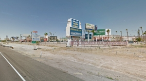 The California-Nevada state line is seen from the 15 Freeway in an undated file photo. (Credit: Google Maps)