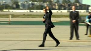 President Barack Obama arrives at LAX on Feb. 11, 2016. (Credit: pool)