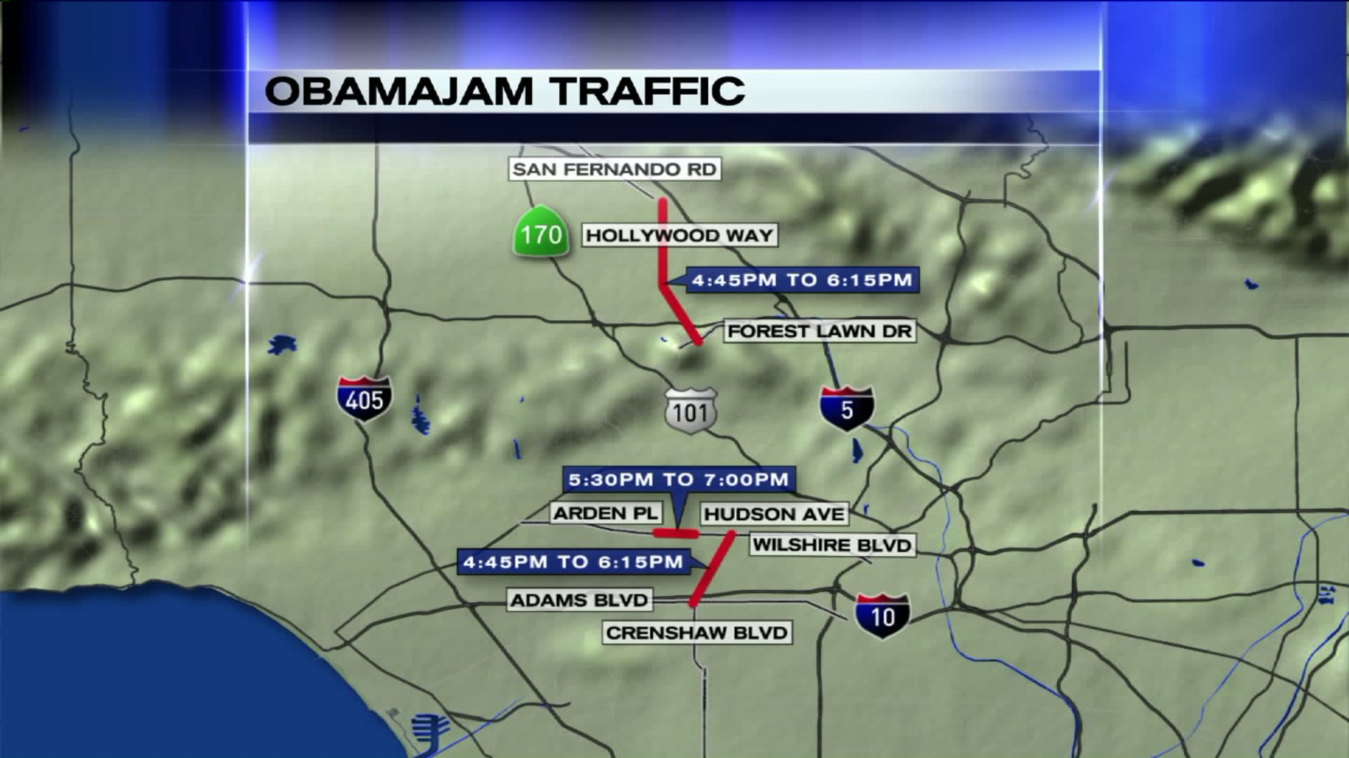 A map shows some of the areas to avoid during the president's planned trip to the Los Angeles area Thursday. (Credit: KTLA)