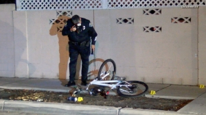 A bicyclist was shot in Santa Ana in the early morning hours of Feb. 22, 2016. (Credit: OnScene.TV)